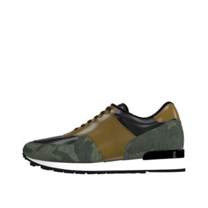 Front view of model Axel, Painted calf black and olive and camo flannel Golf BespokeShoes