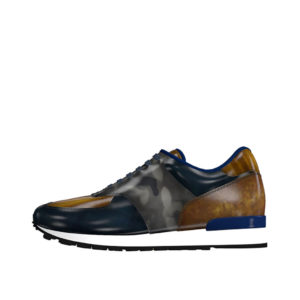 Front view of model Tyler, Denim, cognac, grey patina leather Golf BespokeShoes