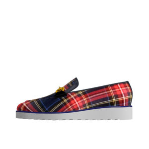Front view of model Carter, Tartan red and navy box calf leather Golf BespokeShoes