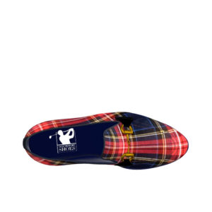 Side view of model Carter, Tartan red and navy box calf leather Golf BespokeShoes