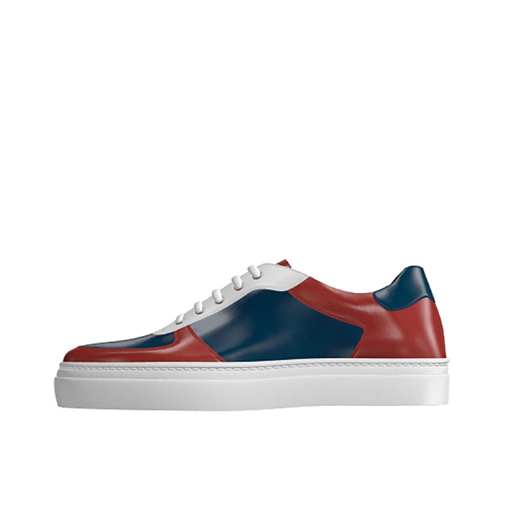 Front view of model Brandon, Red, navy and whithe calf leather Golf BespokeShoes