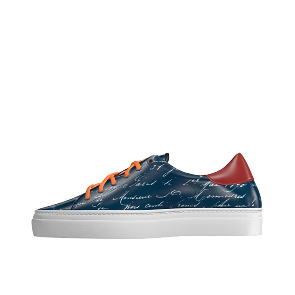 Front view of model Charles, Navy and red painted calf leather with stencil technique Golf BespokeShoes