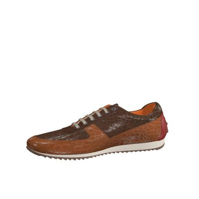 Front view of model Tiger, med brown and dark brown exoctic alligator skin with heel in red painted calf Golf BespokeShoes