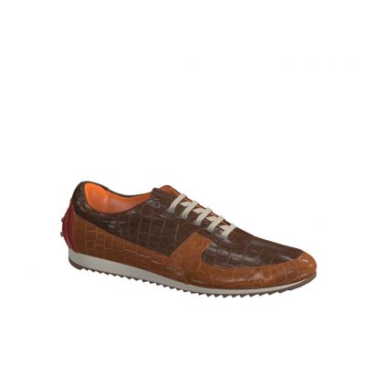 Side view of model Tiger, med brown and dark brown exoctic alligator skin with heel in red painted calf Golf BespokeShoes