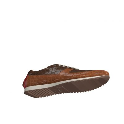 Bottom view of model Tiger, med brown and dark brown exoctic alligator skin with heel in red painted calf Golf BespokeShoes